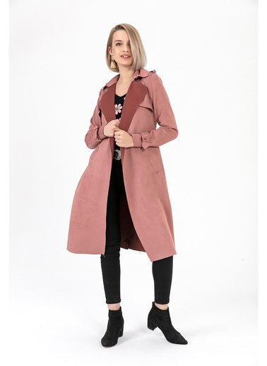 Tiffany&Tomato Trenchcoat Apoletli Pembe